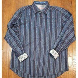 Robert Graham Button Down LS Shirt Blue Stripes XL
